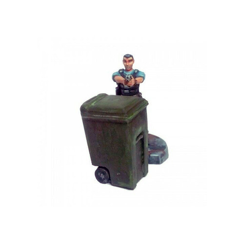 Plastic garbage can with miniature shown for scale