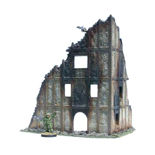 ACMV1226 Ruined 4 Story Stucco Building Corner