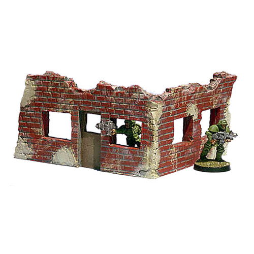 "ACRB010 2 1/2"" Tall Ruined Brick Corner with Single Door"