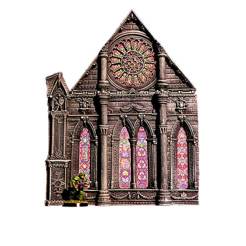 ACC013 Cathedral End Wall w/ Rose Window (3pcs)