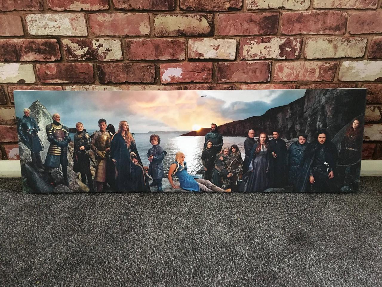 Game Of Thrones Panoramic Kiss Art Print Canvas Banner Lannister Targaryen Stark Tyrell White Walkers Jon