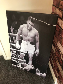 Muhammad Ali/Anthony Joshua KiSS Canvas or Poster print - half & half - Boxing wall Art - Home Decor, knockout - father's day Gift Idea