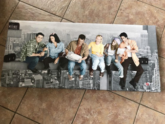 Friends Inspired Skyscraper KiSS Large Panoramic Canvas - Cast TV Show - New York City lunch on Skyscraper - Wall Art gift