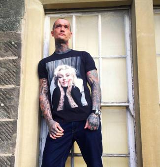 Marilyn Monroe Tattooed KiSS T-Shirt - Inked Sleeve design - Art, Unique Artwork - Tattooist Artist - Present Gift idea