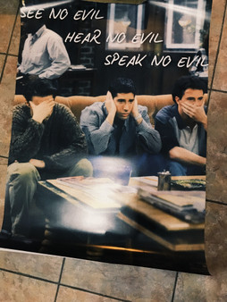 Friends Chandler, Joey & Ross, See No Evil KiSS Canvas or Poster - Funny Unique Wall Art - Home Decor - TV Show sitcom fan - Christmas present