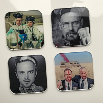 Breaking Bad KiSS Coasters - TV Show inspired - Jesse Pinkman and Walter White - Stocking Filler - Present/Gift Idea - Let's Cook Home Decor