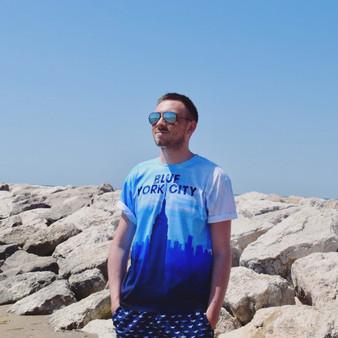 Blue York City KiSS All Over T-Shirt - New York City - NYC - Blue Skyline - Dusk