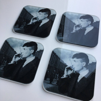 Peaky Blinders Tommy Shelby KiSS Coasters - Cillian Murphy, UK TV Show - Smoking - Stocking Filler - Present/Gift Idea - Gangster Home Decor
