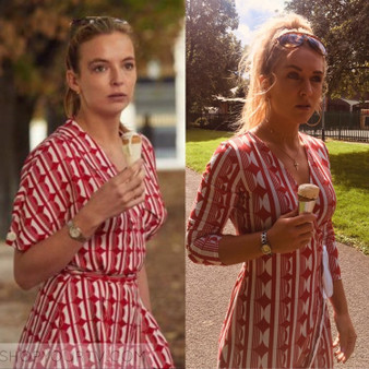 Circle Pattern KiSS Handmade Dress - Retro Cut and Sew - Villanelle Inspired Style - Killing Eve - Unique Jodie Comer - Wrap or Tea Dress