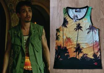 Klaus Sunset KiSS Basketball Vest - Palm Trees - Hargreeves  Robert Sheehan Inspired - Cosplay - Umbrella Academy - TV Show Number Four 4