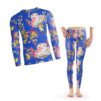 Romeo Pyjamas PJ KiSS Set - Japanese Flowers Floral - Leonardo DiCaprio Juliet Movie - 90s Gift for Her - Leggings