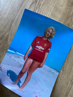 Custom Marilyn Monroe Football KiSS Canvas or Poster - Personalised, unique jersey - Pick any team - Football soccer - Gift Idea