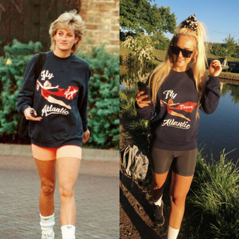Fly Atlantic KiSS Sweatshirt - Diana - Princess of Wales inspired - Gym Workout Paparazzi - Virgin Airline Pin Up girl