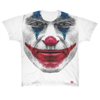Joaquin Joker KiSS Large Print T-Shirt - Movie Inspired - Pheonix - Clown - Why so Serious - Happy Face