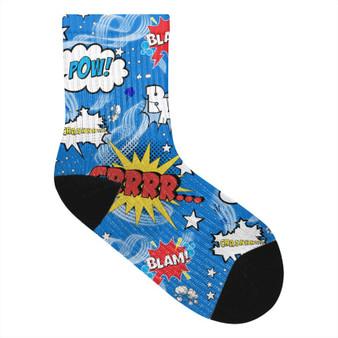 Comic Book KiSS Socks - Villanelle Inspired Killing Eve Pyjamas - Jodie Comer Shh - Pop Art Superhero