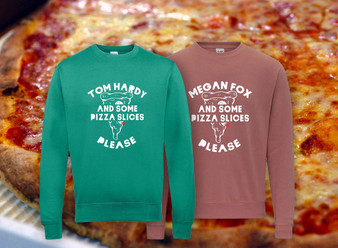*insert name* And Some Pizza Slices KiSS Sweatshirt - Any Name - Tom Hardy Mila Kunis Zac Efron Megan Fox - You Choose - Personalised - Celebrity Crush Valentines