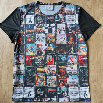 PS1 KiSS Cut & Sew T-Shirt - Retro Gamer Gaming - Console - Sony Inspired - Driver Crash Bandicoot