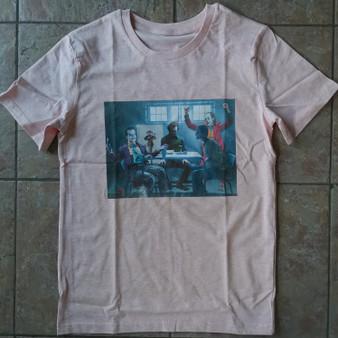 NEW: 4 Jokers Meeting KiSS T-Shirt - Heath Ledger - Edit - Jack Nicholson Jared Leto Joaquin Pheonix Dark Knight - Present - Joker