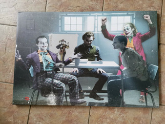 NEW: 4 Jokers Meeting KiSS Poster or Canvas - Jack Nicholson, Heath Ledger, Jared Leto Joaquin Phoenix - Why so Serious, Wall Art - Batman - gift for him & her