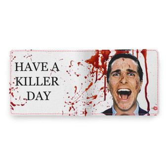 American Psycho KiSS Wallet - Blood Splatter Christian Bale - Have a Killer Day - Horror Funny Halloween - present