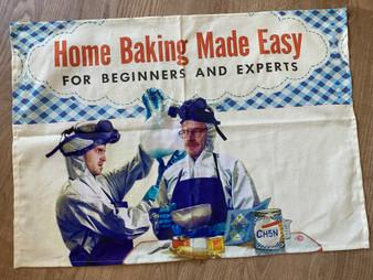 Baking Breaking Bad KiSS Tea Towel - Jesse Pinkman and Walter White - 30s 40s recipe book style - Vintage theme - Kitchen Cotton Linen
