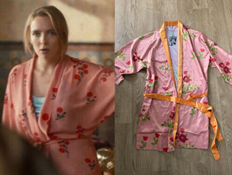 Pink Floral KiSS Kimono - Silk Style Robe - Dressing Gown Villanelle - Killing Eve Jodie Comer S03E04