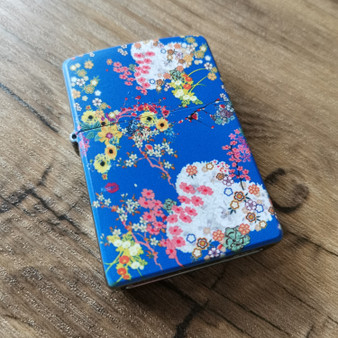 Japanese Floral ZIPPO® KiSS Lighter - DiCaprio Romeo - Flowers Print - Blue 90s
