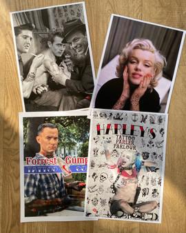 Tattoo Artwork KiSS Poster Print Set - Original Designs - A4 Pack - Harley Quinn Forrest Gump - Elvis James Dean Frank Sinatra - Marilyn Monroe