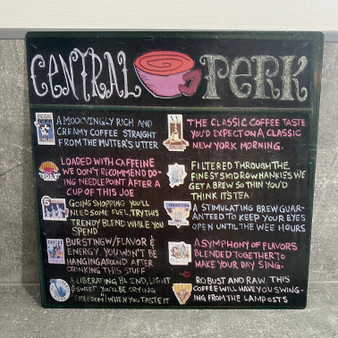 Central Perk Menu KiSS Metal Print Sign  - Friends Show - Aluminium Wall Art - Coffee Kitchen