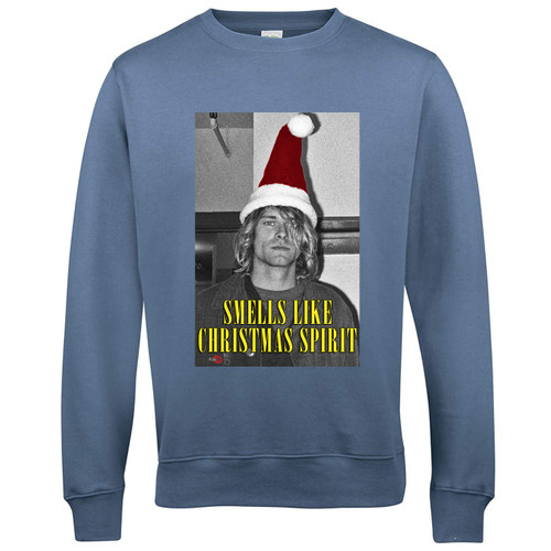 Cobain Xmas KiSS Sweatshirt - Happy Christmas - Smells Like Christmas Spirit - Teen - Grunge Kurt Nirvana