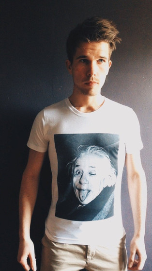 Albert Einstein Wink KiSS T-Shirt - Tongue Piercing Edit - Funny Face - Profile - Genius