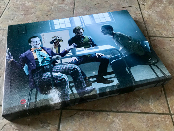 3 Jokers Meeting KiSS Poster or Canvas - Jack Nicholson, Heath Ledger, Jared Leto - Why so Serious, Wall Art - Batman - Christmas gift for him & her