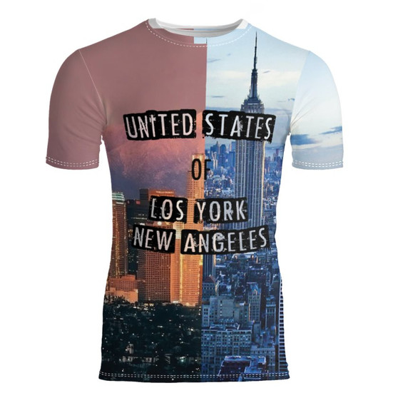 LA NY KiSS Cut And Sew T-Shirt - Los Angeles New York - Half and Half USA Cities - Cool Shirt