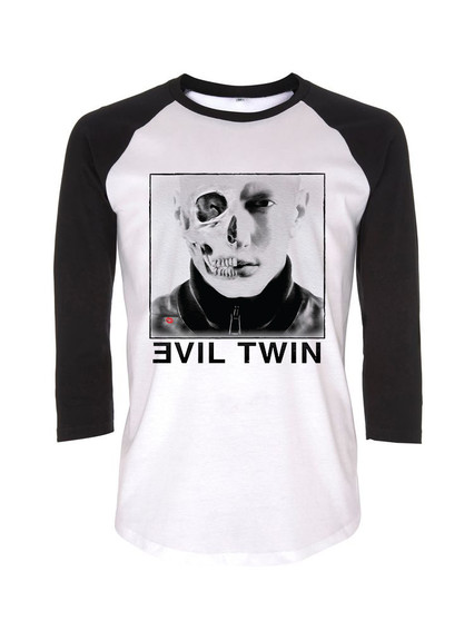 Evil Twin KiSS Baseball T-Shirt - Eminem inspired - Slim Shady - Marshall Mathers - Rap God - Music Rapper Skull