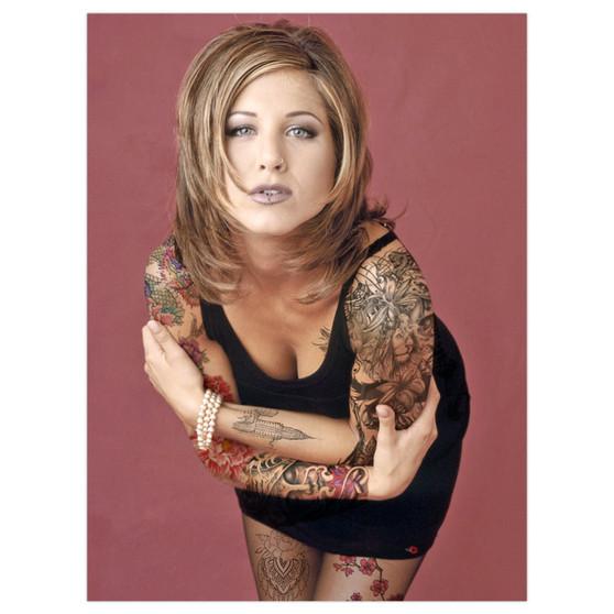 Rachel Green Ink KiSS Poster or Canvas - Jennifer Aniston - Tattooed - Alternative 90s Tattooed - Friends Tv Show