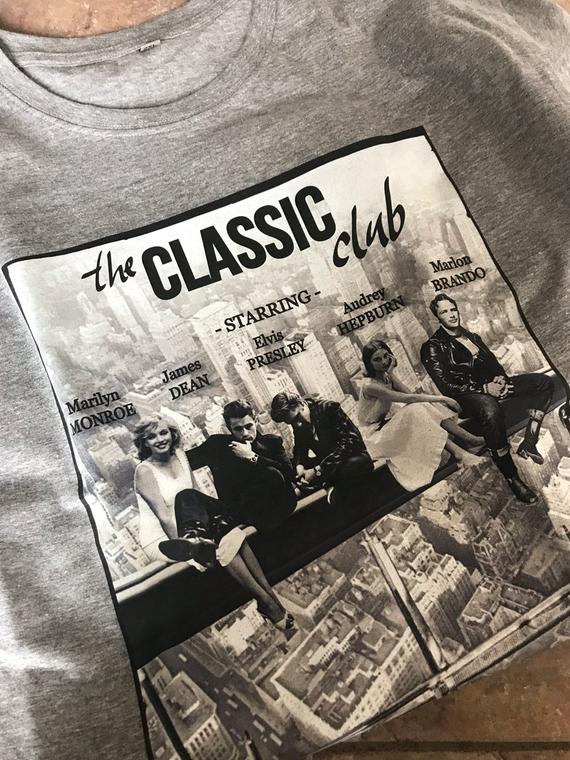 Marilyn Classic Club KiSS T-Shirt - James Dean, Elvis, Marlon Brando, Audrey Hepburn - Breakfast Club inspiration - Christmas Present Movies