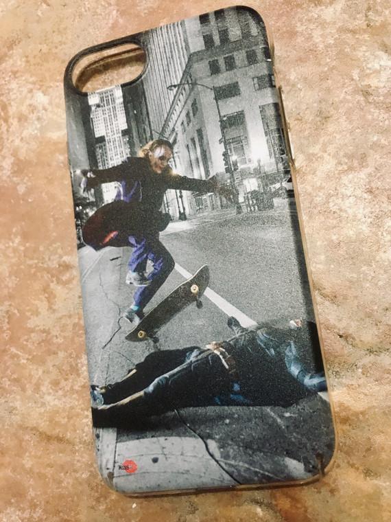 Batman/Joker Skateboard KiSS Phone Case - Skating Trick, Ollie - Heath Ledger, Christian Bale - Dark Knight - Stocking Christmas Present