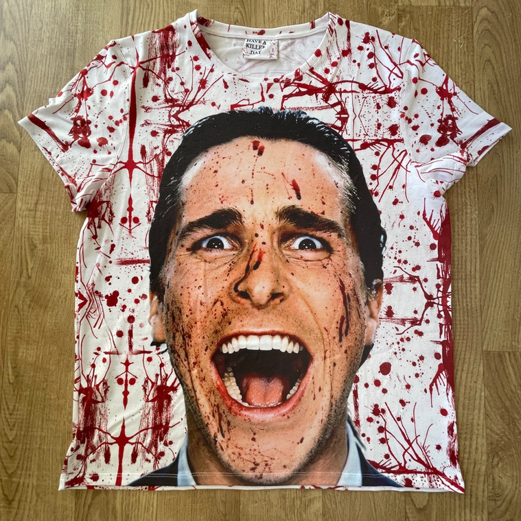 American Psycho KiSS All Over T-Shirt - Blood Splatter Christian Bale - Have a Killer Day - Horror Funny Halloween - present