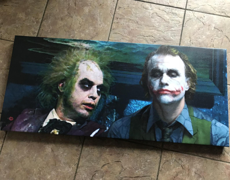 Beetlejuice & The Joker KiSS Large Panoramic Canvas - funny unique wall art - Home Decor, eyecatching cool design - movies - Heath Ledger