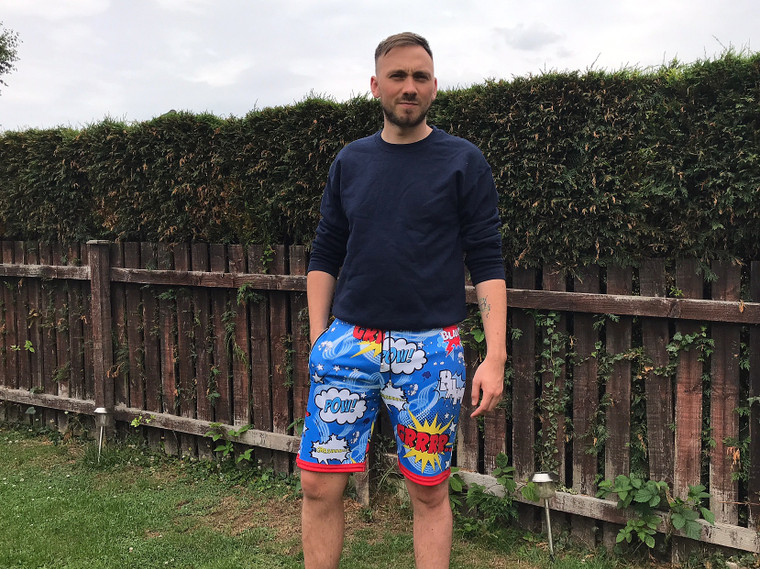 Pop Art KiSS Cut & Sew Shorts or Joggers - Comic Book - Pow Boom - Killing Eve Shh Pyjamas Inspired - Superhero