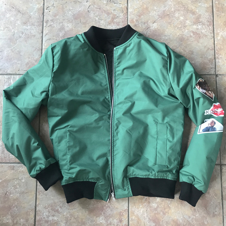 Green KiSS Bomber Jacket - Cut and Sew - Villanelle Inspired Style - Killing Eve - Unique