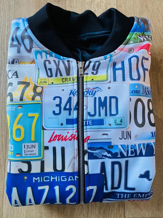 USA States KiSS Bomber Jacket - America - American License Licence Plates - NYC LA Texas Chicago - Travel