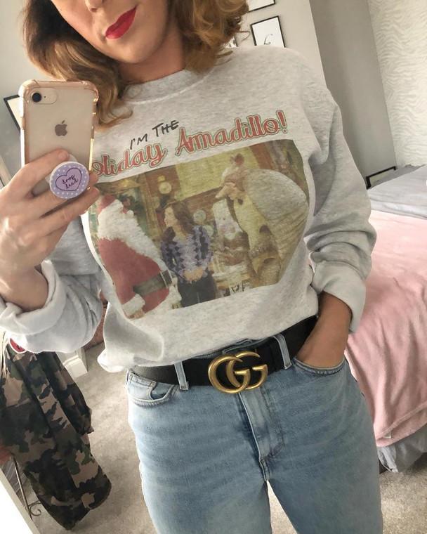 Friends Holiday Armadillo Inspired KiSS Sweatshirt - Christmas Jumper - Ross, Monica, Chandler, Rachel, Joey, Phoebe - Xmas