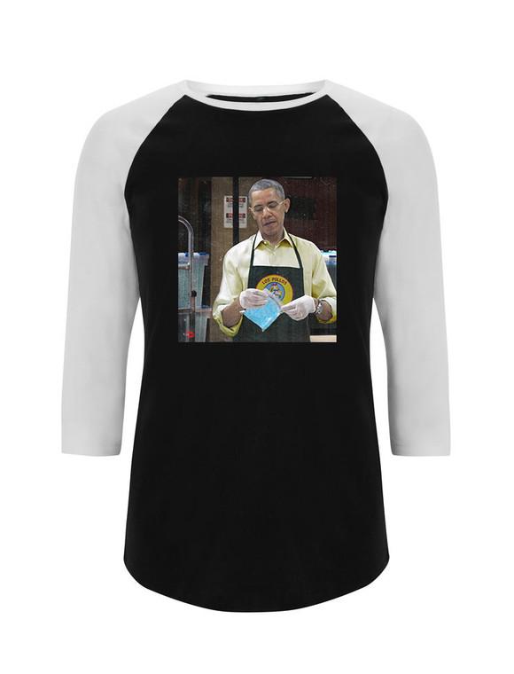 Baracking Bad KiSS Baseball T-Shirt - Barack Obama - Breaking Bad inspired - Gus Fring - Los Pollos Hermanos TV Show