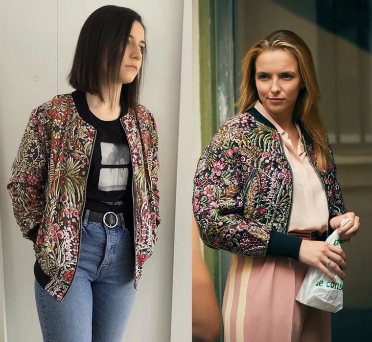 Floral Print KiSS Bomber Jacket - Cut and Sew - Villanelle Inspired Style - Killing Eve - Unique Jodie Comer - Embroidered Look