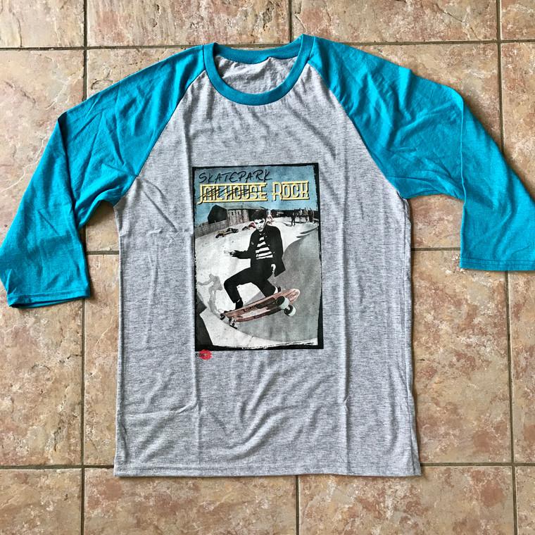Elvis Presley Skate KiSS Baseball T-Shirt - Jailhouse Rock Skatepark - Rock N Roll - Iconic