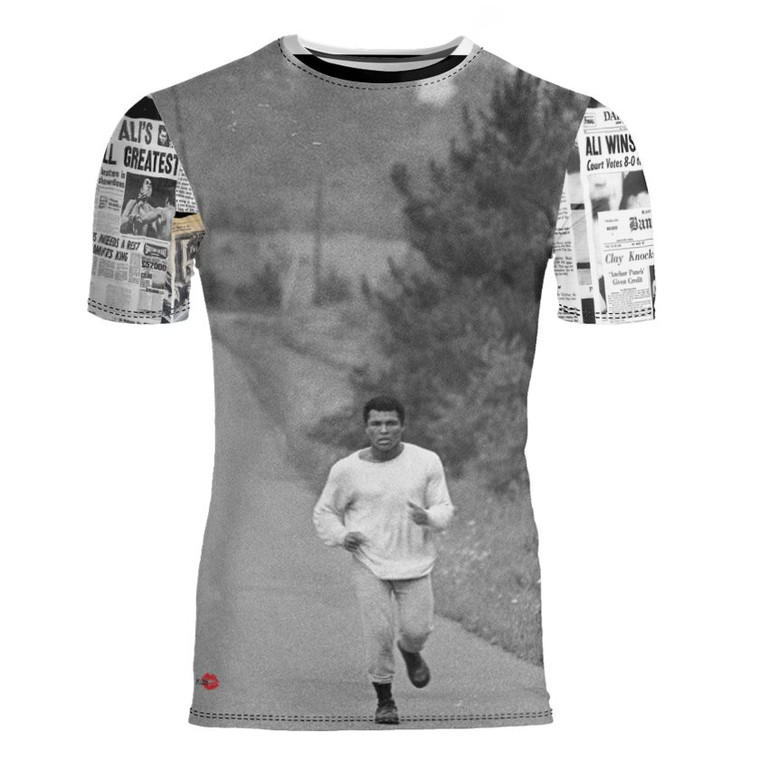 Muhammad Newspaper KiSS Cut And Sew T-Shirt - Ali Casisus Clay Knockout - Sports Fans - Gift Idea, Dad, Father's Day, Running Present Boxing Gym