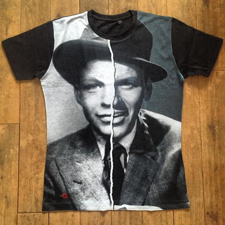 Frank Sinatra KiSS Cut And Sew T-Shirt - Half and Half - Young Vs Old - Rat Pack Old Blue Eyes - Hollywood