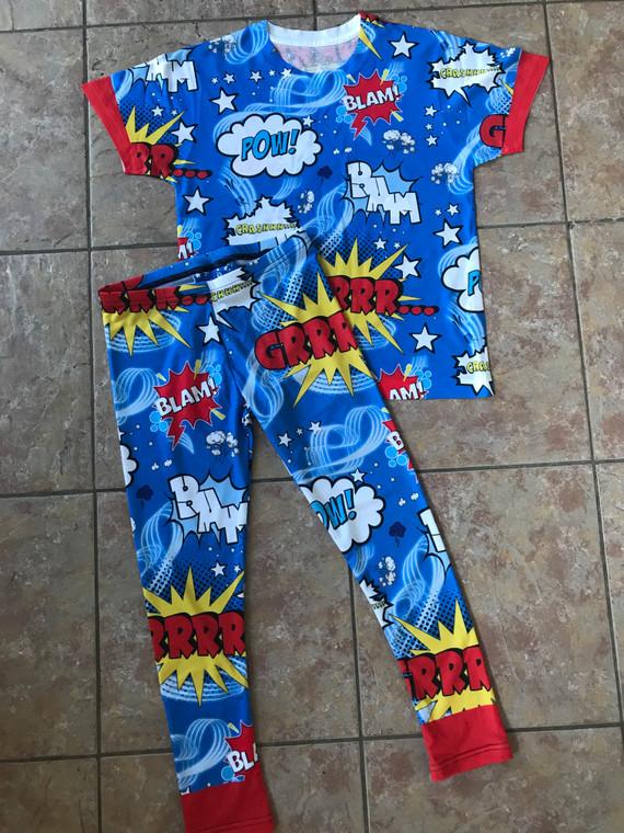 Pop Art Comic Book Kids KiSS Pyjama Set - Villanelle Inspired Killing Eve - Cool Toddler Fashion - Jersey Matching Adult