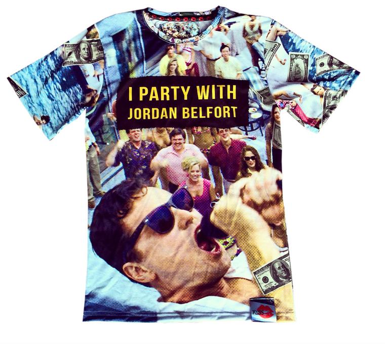 Party With Jordan KiSS Cut & Sew T-Shirt- Leonardo DiCaprio - Jordan Belfort Movie Wall Street - Gift for him/her - Dollars